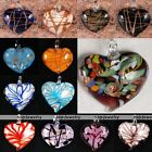 Lampwork Glass Striped Heart Beads Flower Charms Pendant For Necklace DIY Gift