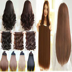 UK Seller Real Half Full Head Clip In Hair Extensions Straight Curly Wavy 1PCS