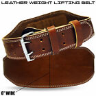 "Weight Lifting Leather Belts Padded 6"" Wide Back Support Gym Fitness Brown"