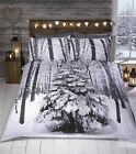 Winter Woodland Glitter Print Duvet Quilt Cover Bedding Set