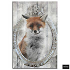 Shabbby Chic Fox Wood Vintage BOX FRAMED CANVAS ART Picture HDR 280gsm