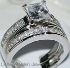 Kyпить Princess Cut Diamond Engagement Ring Wedding Set 14k White Gold Sterling Silver на еВаy.соm
