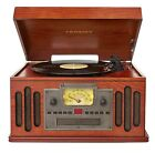 CROSLEY CD CASSETTE AM FM RADIO 3-SPEED RECORD PLAYER TURNTABLE SPEAKERS SYSTEM