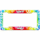 Tie-Dye Hippie License Plate Frame Ride Names Female Te-To