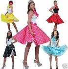 Ladies 1950s Polka Dot Rock n Roll Swing Skirt & Scarf Fancy Dress Costume 12-16