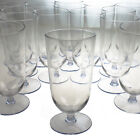 36 Eclipse 17oz Cooler Clear Footed Plastic Cups Wine Glasses Stemware Party Lot