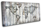 World Atlas Vintage Wood Maps Flags SINGLE CANVAS WALL ART Picture Print