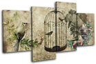 Garden Vintage Bird  Floral MULTI CANVAS WALL ART Picture Print