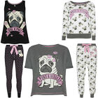 Ladies Cotton Pug And Kisses Pyjamas  Leggings Top Pj Set Primark Uk 6 - 20 Bnwt