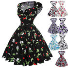 Women Retro Style 50s 60s Floral Swing Pinup Rockabilly Party Evening Prom Dress