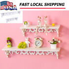New Deathly white Shabby Chic Filigree Style Shelves Cut Out Design Wall Shelf Home -US