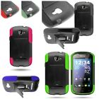 For BLU Dash 4.0 - Vibrant Shock Proof Kickstand Hybrid Phone Cover Case