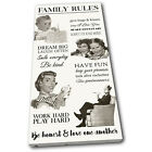 Retro Family Rules Vintage SINGLE CANVAS WALL ART Picture Print