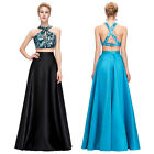 New Two-Piece Set Sequined Satin Backless Gown Evening Prom Party Dress Cocktail