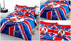 Union Jack Duvet Cover Bedding Set Bull Dog / Pug Denim Style Blue Red Bedding