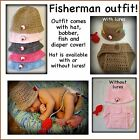Fisherman hat & diaper cover set 0-3 Month 3-6 Month, Preemie, Photo Prop, Baby