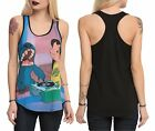 New Disney Lilo & Stitch Record Player Girls Racer Back Tank Top Juniors M