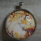 ROUND GLASS TILE PENDANT/ALPHONSE MUCH/ART NOUVEAU