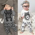 Boys Girls Long Sleeve T-shirt Toddler Kids Baby Pants Trousers Outfit R9WS
