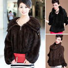 Ladies Real Knitted Mink Fur Coat Outwear Jacket Sweater Stock Warm Zip Girl C
