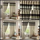 Hayley Lined Eyelet Curtains Horizontal Stripes Ring Top Ready Made One Pair