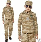 Boys Kids Desert Army Soldier Camo Commando Uniform Fancy Dress Costume 7-12