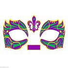 Masque Rage Temp Mardi Gras Mask Tattoo Masquerade Costume Gold Silver Teal