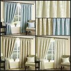 Chelo Lined Curtains Woven Leaf Trail Jacquard Ready Made Pair Pencil Pleat