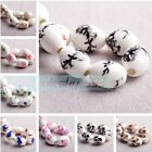 10pcs 15mm Oval Charms Flower Patterns Ceramic Porcelain Loose Spacer Beads