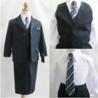 Pretty Toddler Teen Boy Navy blue pinstripe wedding graduation party formal suit