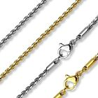 "Stainless Steel Twisted Round Link Chain Necklace 18"" (Choose Color)"