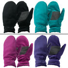 2 Pairs Women's Free Country Furry Thermal Fleece Mittens Pink Black Blue Teal