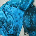 GANESH SHAWL SCARF TURQUOISE WITH OM SYMBOLS FROM VARANASI INDIA