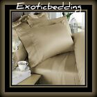 Tan Solid 4-Piece Bed Sheet Set 1200 Thread Count Egyptian Cotton