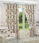 100% COTTON NEW RING TOP EYELET FULLY LINED FLORAL READY MADE CURTAINS CREAM