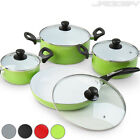 Cookware 4 Pcs Set Ceramic Coating Pot Pan Saucepan Frying Non Stick Glass Lid
