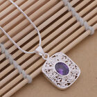 AN090 Free shipping Purple Crytal Square Style solid silver Necklace + gift bag