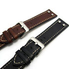 Super Heavy Chunky Riveted Genuine Leather Watch Band 20-26mm 683R Black Brown