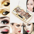 12 Colors Pro Eyeshadow Shimmer Palette & Cosmetic Brush Makeup Set,New Arrival
