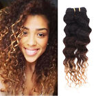 "14""-28"" Brazilian Ombre Deep Wave Curly Virgin Hair 3 tone Human Hair Extensions"