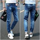 New Fashion Mens Designed Straight Slim Fit Classic Washed Pant Denim Trousers