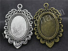 6/30pcs Antique Silver Cameo Cabochon Lace Base Setting Charms DIY 47x30mm