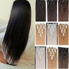 Real Natural Full Head Clip in on Hair Extention Synthetic Remy Dark Black Brown
