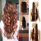 Hair Extensions Half Full Head Auburn Long Clip In Feel as Human Curly Straight