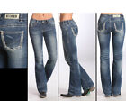 Rock & Roll Women's Feather Stitch Mid-Rise Boot Cut Jeans W1-5621