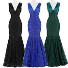 2016 Sexy Lace V-neck Mermaid Long Evening Prom Ball Party Formal Deb Dress