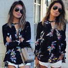 Fashion Women Ladies Casual Long Sleeve Blouse Summer Floral Shirt Tops T-shirt