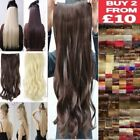One Piece Half Full Head Clip in Hair Extensions Cheap as Human Thick Black