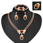 Women 18K Gold Plated Crystal Necklace Bracelet Earrings Pin Wedding Party Sets image