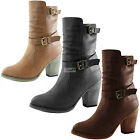 Women Western Cowboy Strappy Buckle Chunky Ankle High Heel High Top Slip ON Boot